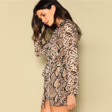 Load image into Gallery viewer, Belted Wrap Front Snakeskin Romper