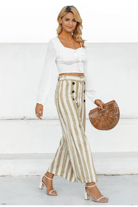 Button Stripe Beach Pant