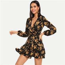 Load image into Gallery viewer, Floral Belt Wrap Dress