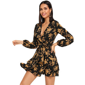 Floral Belt Wrap Dress