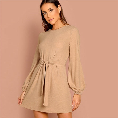 Camel Knot Mini Dress
