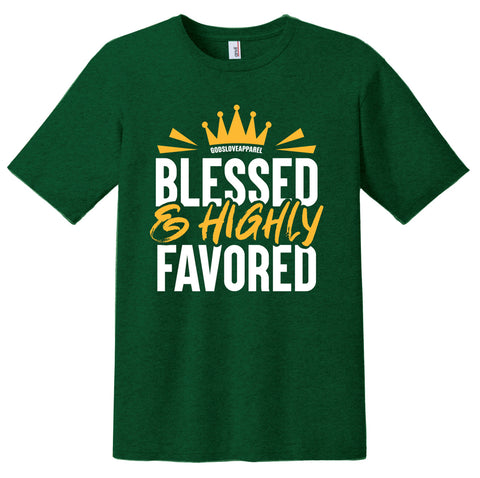 Blessed & Highly Favored Tee - Green/Gold