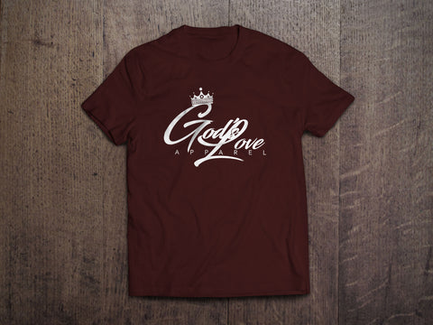 God's Love White Logo Canvas Tee - Heather Cardinal