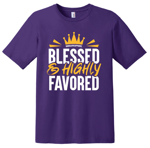Blessed & Highly Favored Tee - Purple/Gold