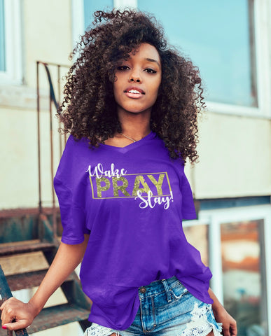 Wake Pray Slay Tee - Purple