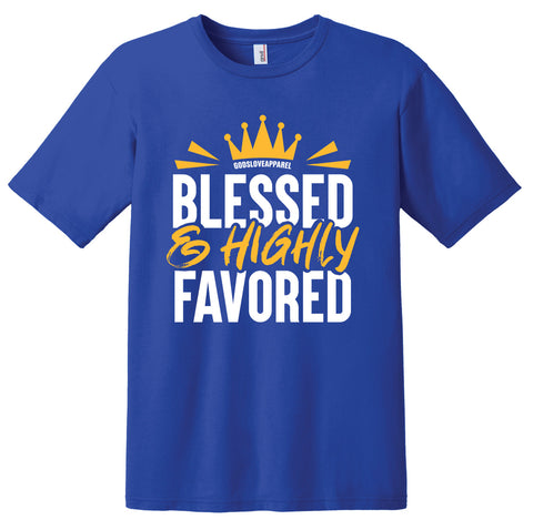 Blessed & Highly Favored Tee - Royal Blue/Gold