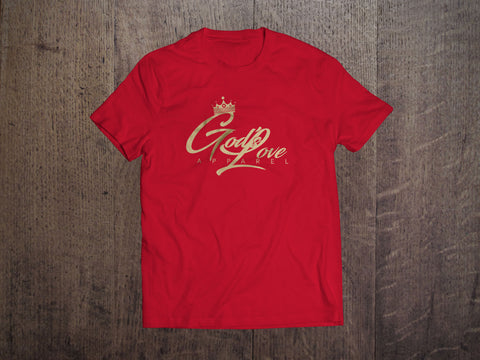 God's Love Gold Logo Canvas Tee - Red