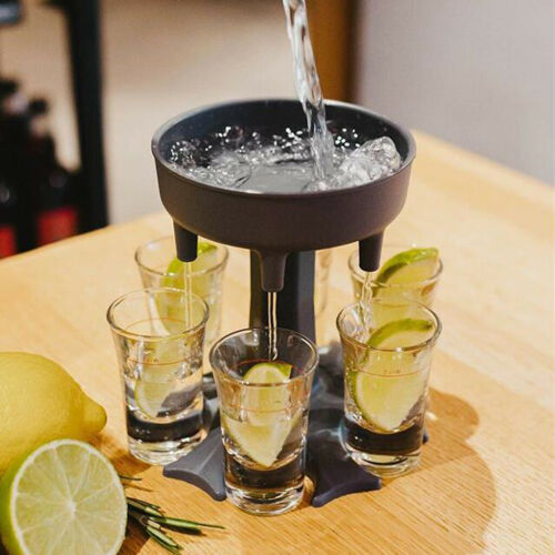 6 Shot Glass Dispenser Holder Carrier Caddy Liquor Dispenser Party Drinking Cocktail Wine Beer Quick Filling Tool