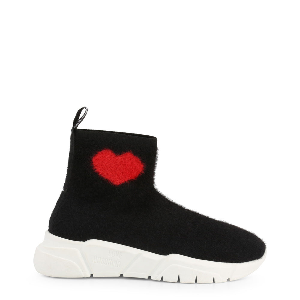Love Moschino Black High Sock Trainers With Heart