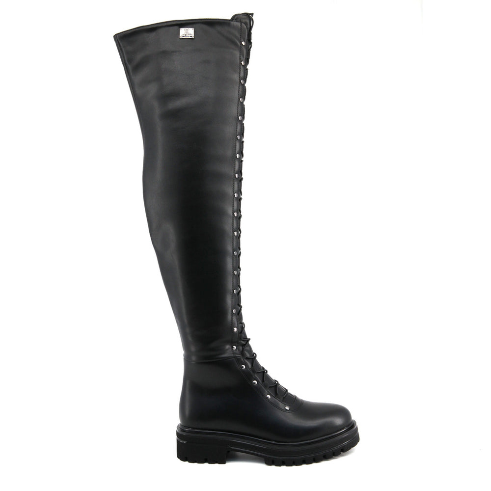 Laura Biagiotti - Knee High Lace Up Biker Boots