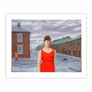 'Geordie Girl in a red dress', (2011). Oil on linen, 90 x 120 cm