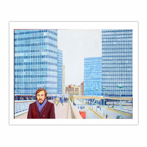 'Glories of modern architecture: London Wall in the 1970s', (2013) Oil on linen, 76.3 x 101.7 cm