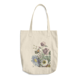 "Cotton Tote Bag ""Bouquet of Flowers with a Butterfly"" by Willem van Leen"