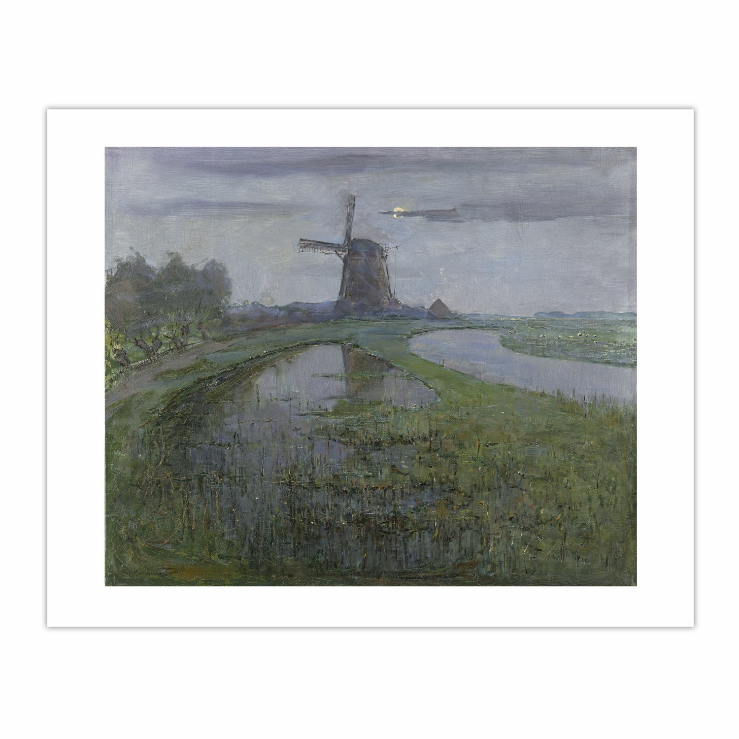 Oostzijdse Mill along the River Gein by Moonlight