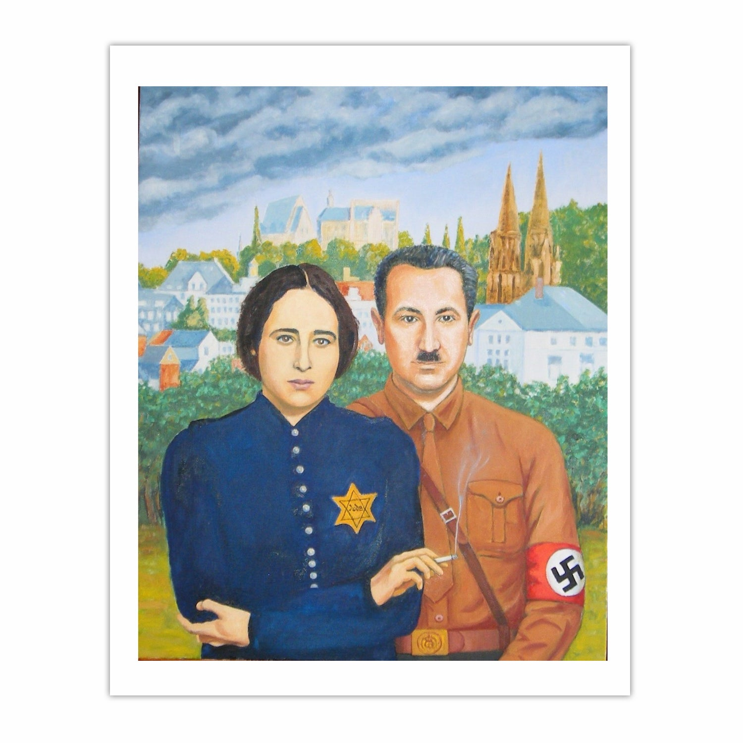 'Two German Philosophers in love', (2010), Oil on linen.110 x 90 cm.
