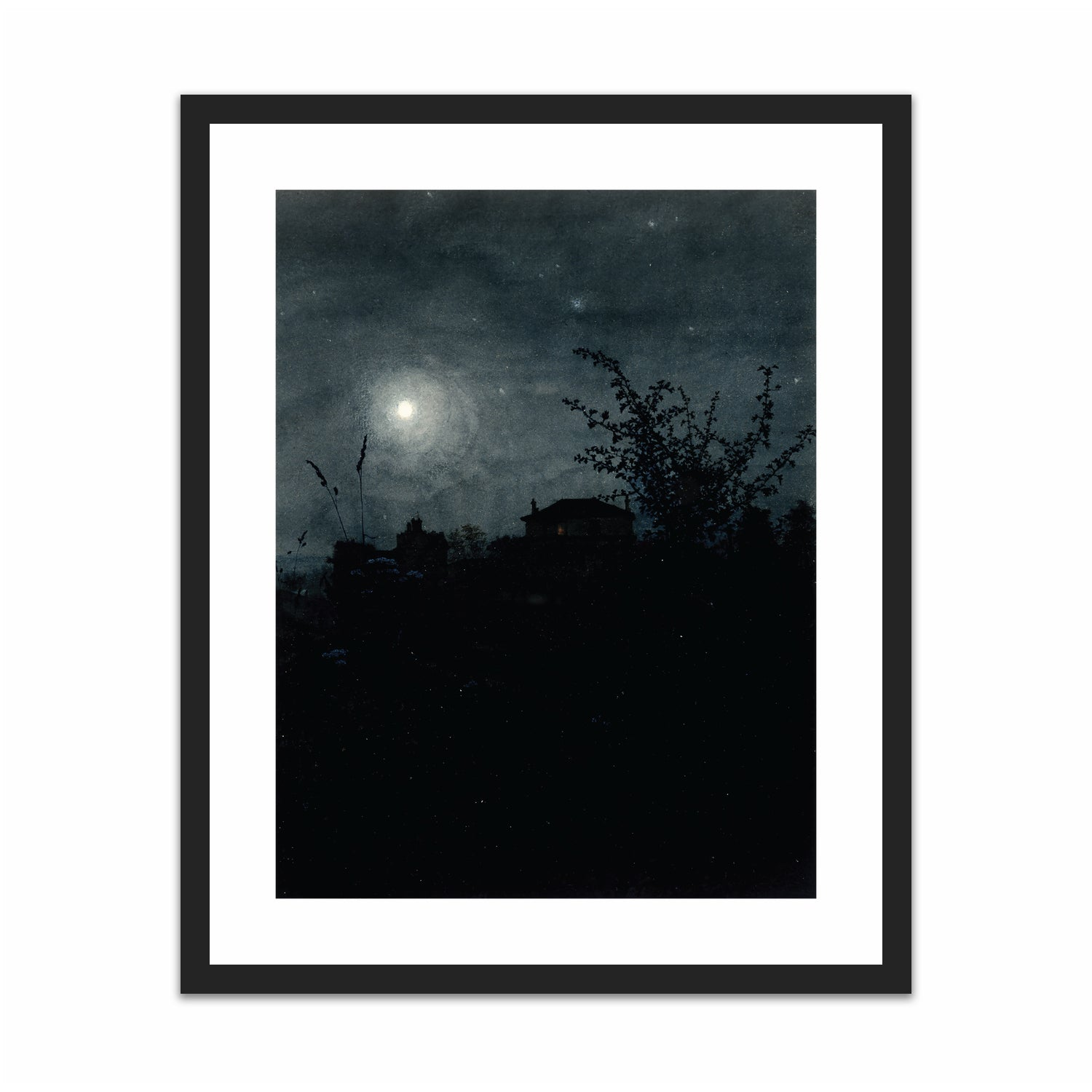 Moonlight Scene, Houses in Background