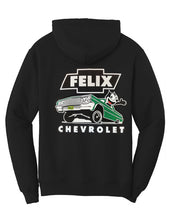 "Load image into Gallery viewer, Felix Chevrolet Mens Felix The Cat Green ""Metal Flake"" Low Rider Hoodie"