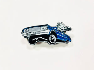 "Felix The Cat 64 Low Rider Pin in Red and Blue ""Metal Flake"""