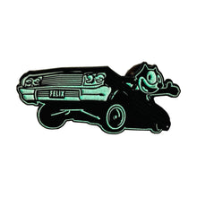 Load image into Gallery viewer, Felix The Cat 64 Low Rider Pin in Gloss Red, Gloss Blue and Gloss Black - Glow in the dark