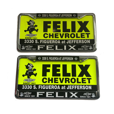 Circa 1958 Original Felix Chevrolet Metal License Plate Set of 2 Metal Frames and 2 Inserts