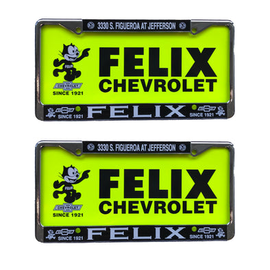 Felix Chevrolet Metal CHROME License Plate Set NEON INSERTS