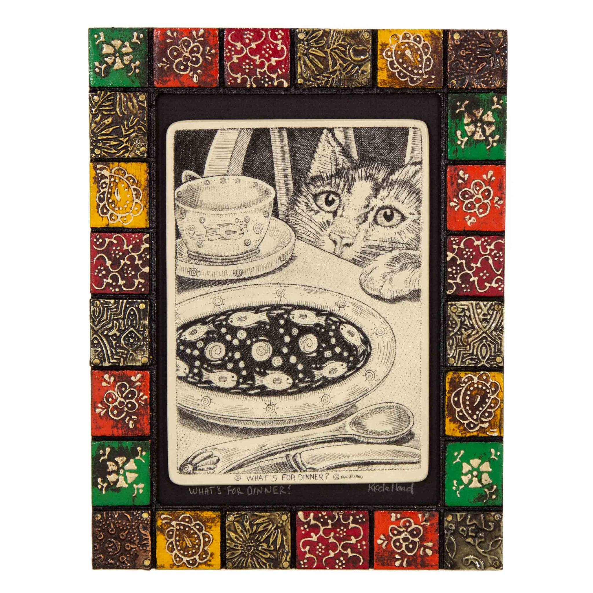 """What's for Dinner?"" Painted Mosaic Wood Frame"
