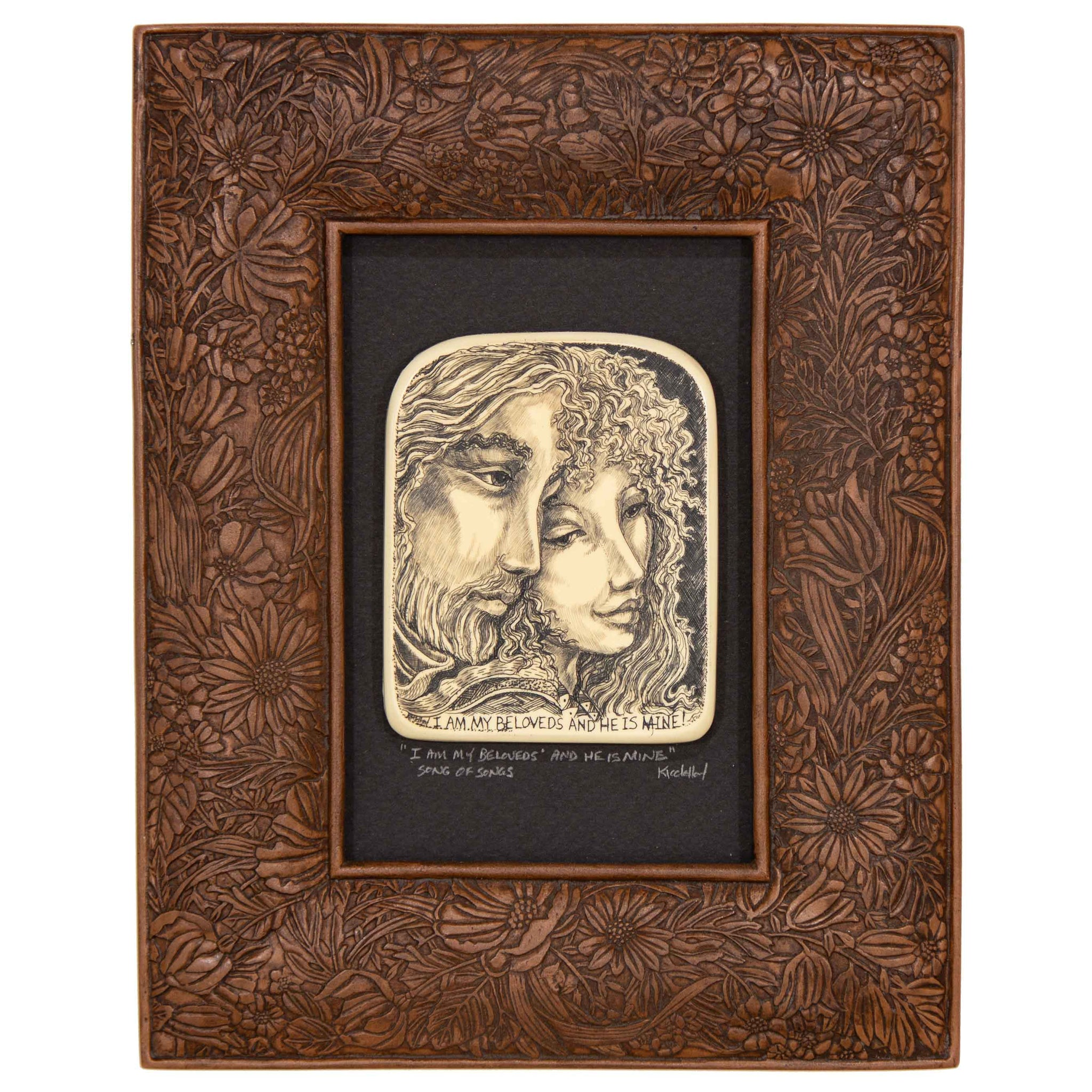 """I Am My Beloved's and He is Mine"" Large Chip Carved Frame"