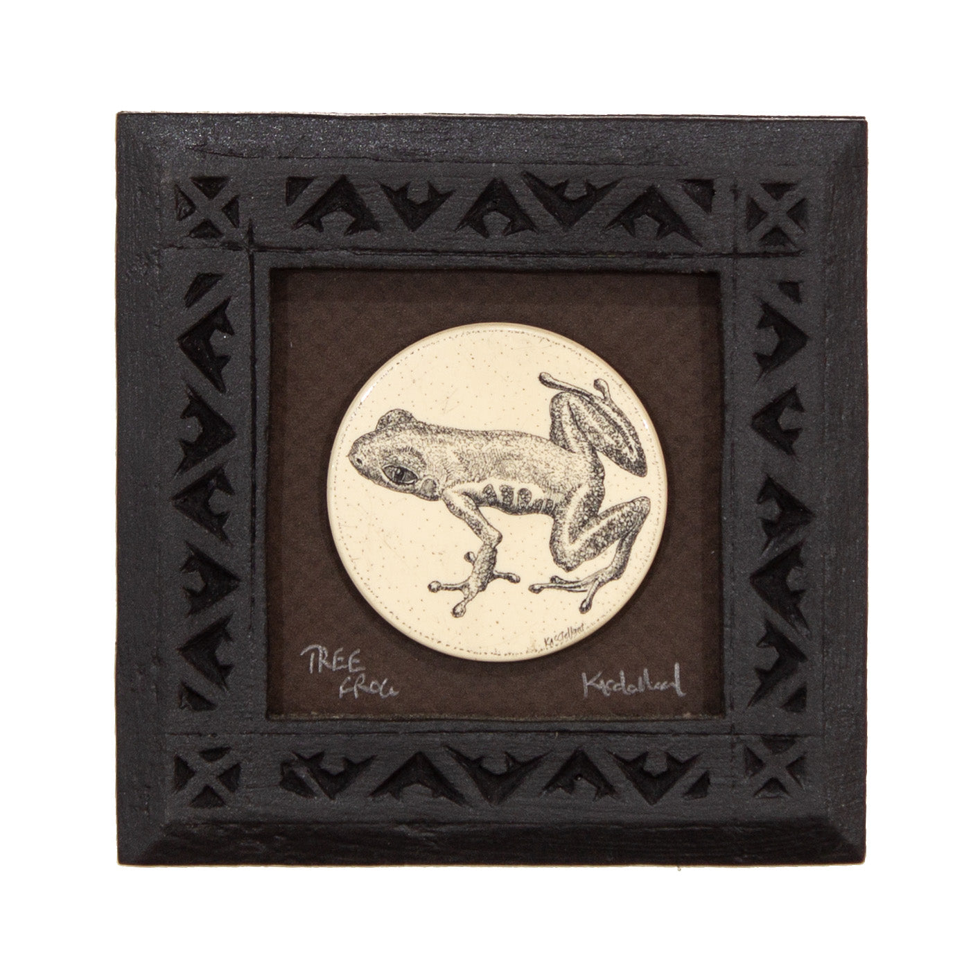 """Tree Frog"" Small Chip Carved Frame"