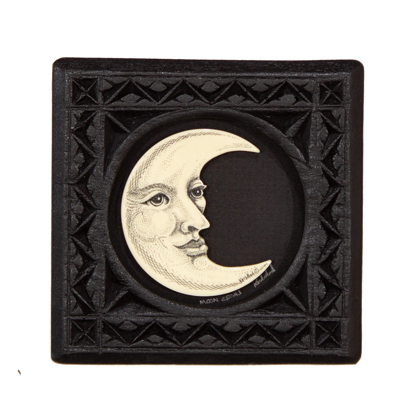 """Moon Croon"" Small Chip Carved Frame"