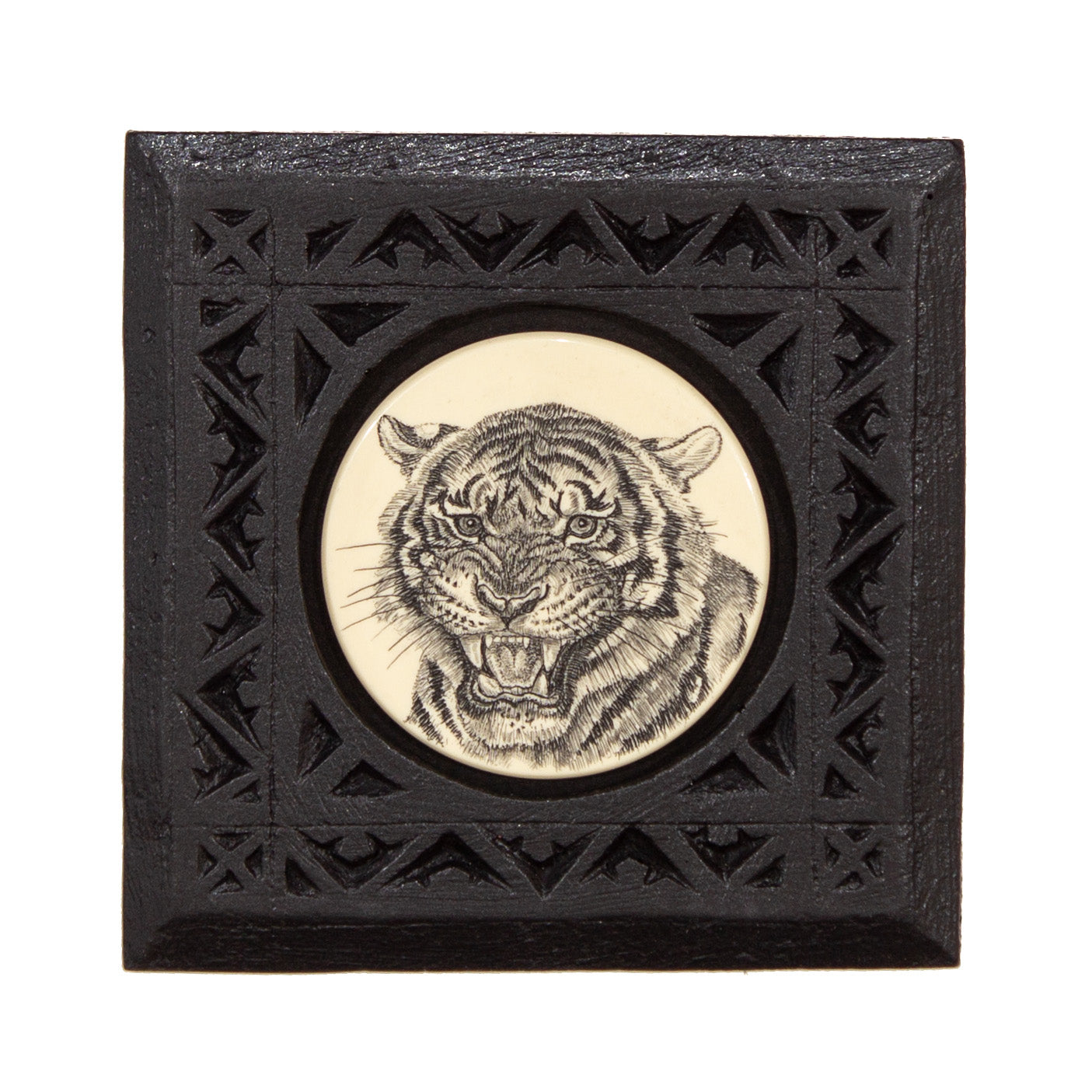 """Bengal Tiger"" Small Chip Carved Frame"