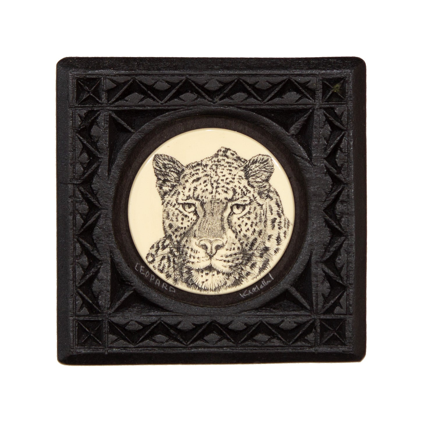 """Leopard"" Small Chip Carved Frame"