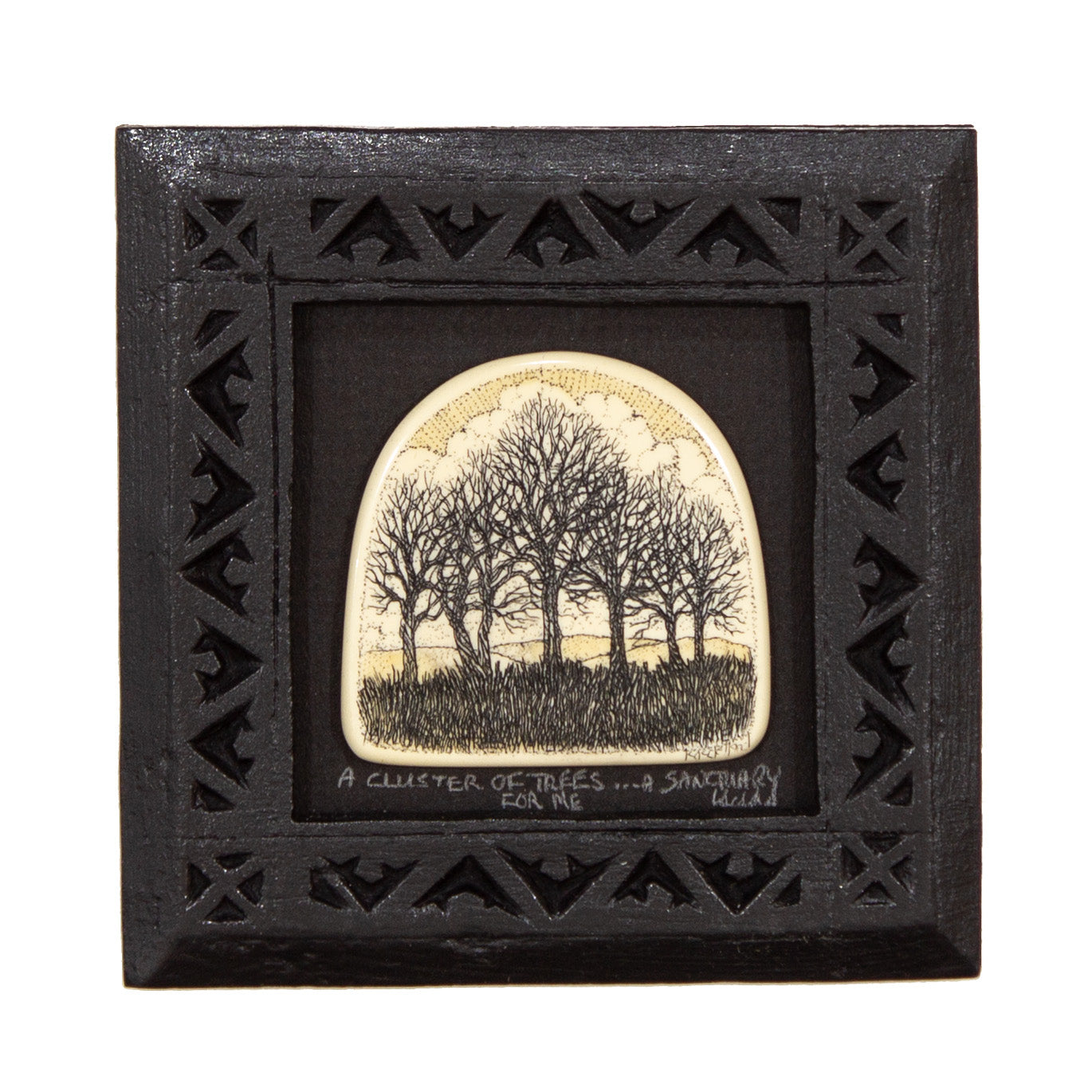 """A Cluster of Trees… A Sanctuary For Me"" Small Chip Carved Frame"