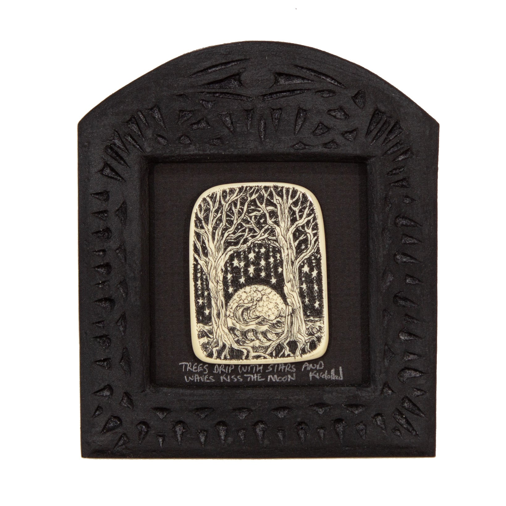 """Trees Drip with Stars and Waves Kiss the Moon"" Small Chip Carved Frame"