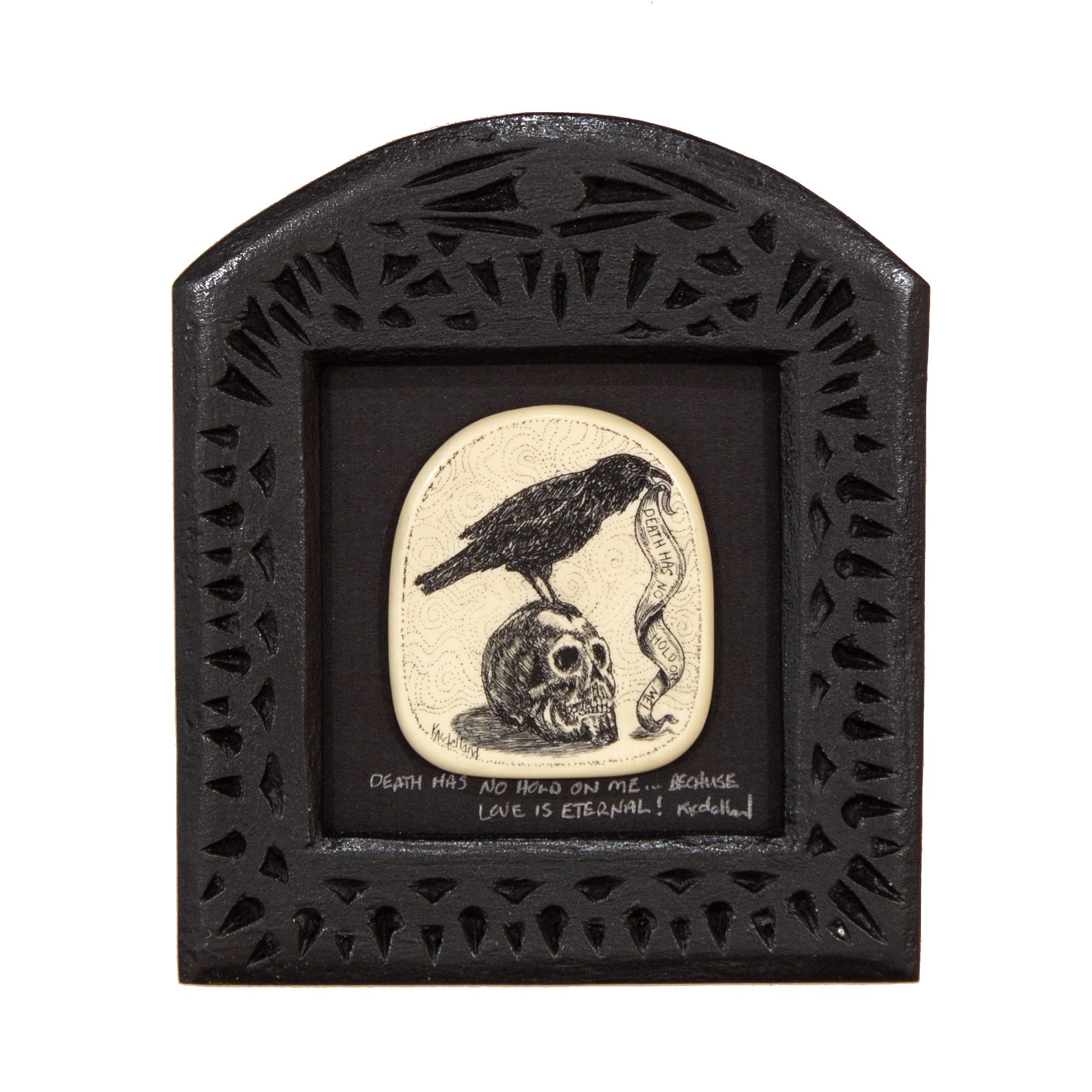 """Death Has no Hold on Me… Because Love is Eternal!"" Small Chip Carved Frame"