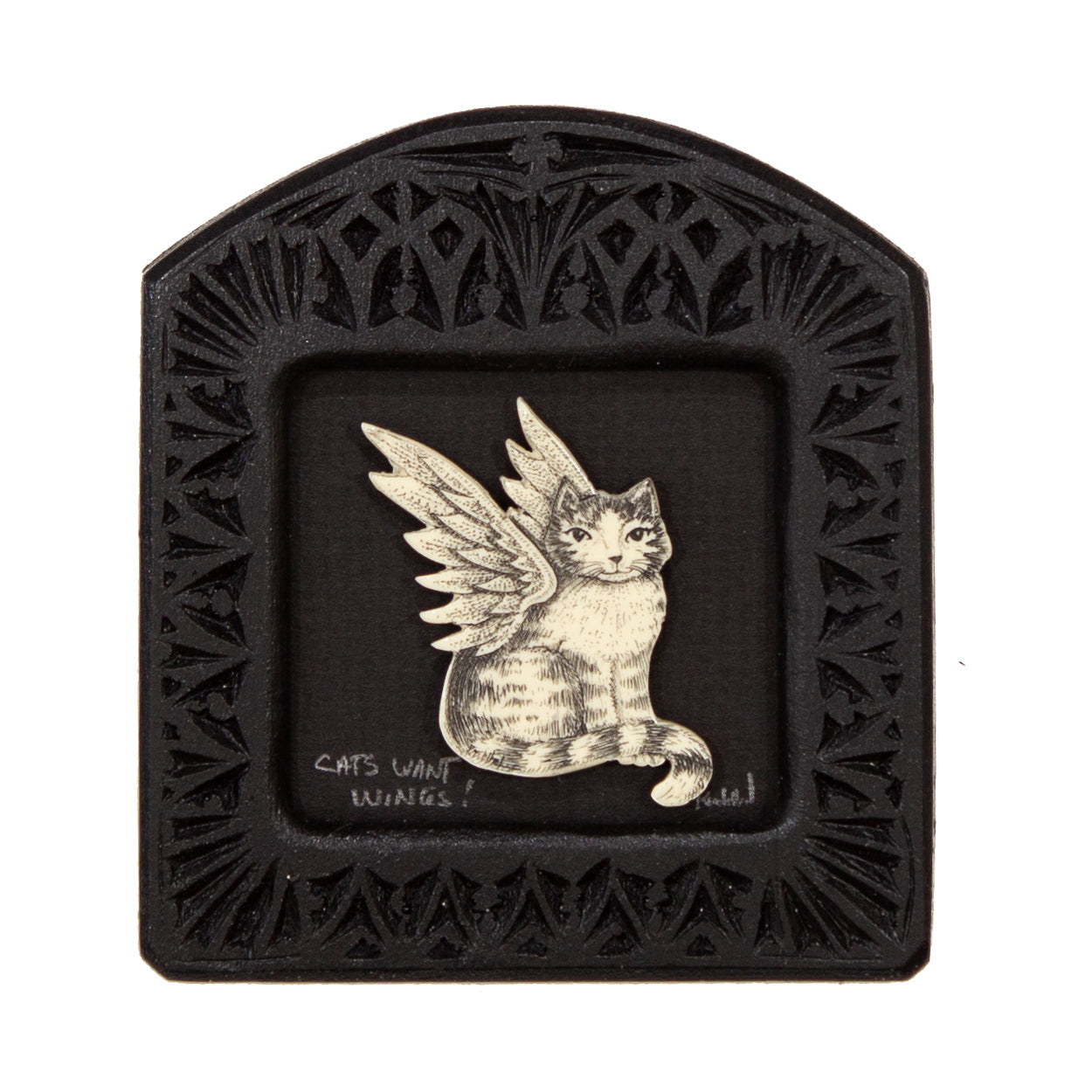 """Cats Want Wings!"" Small Chip Carved Frame"
