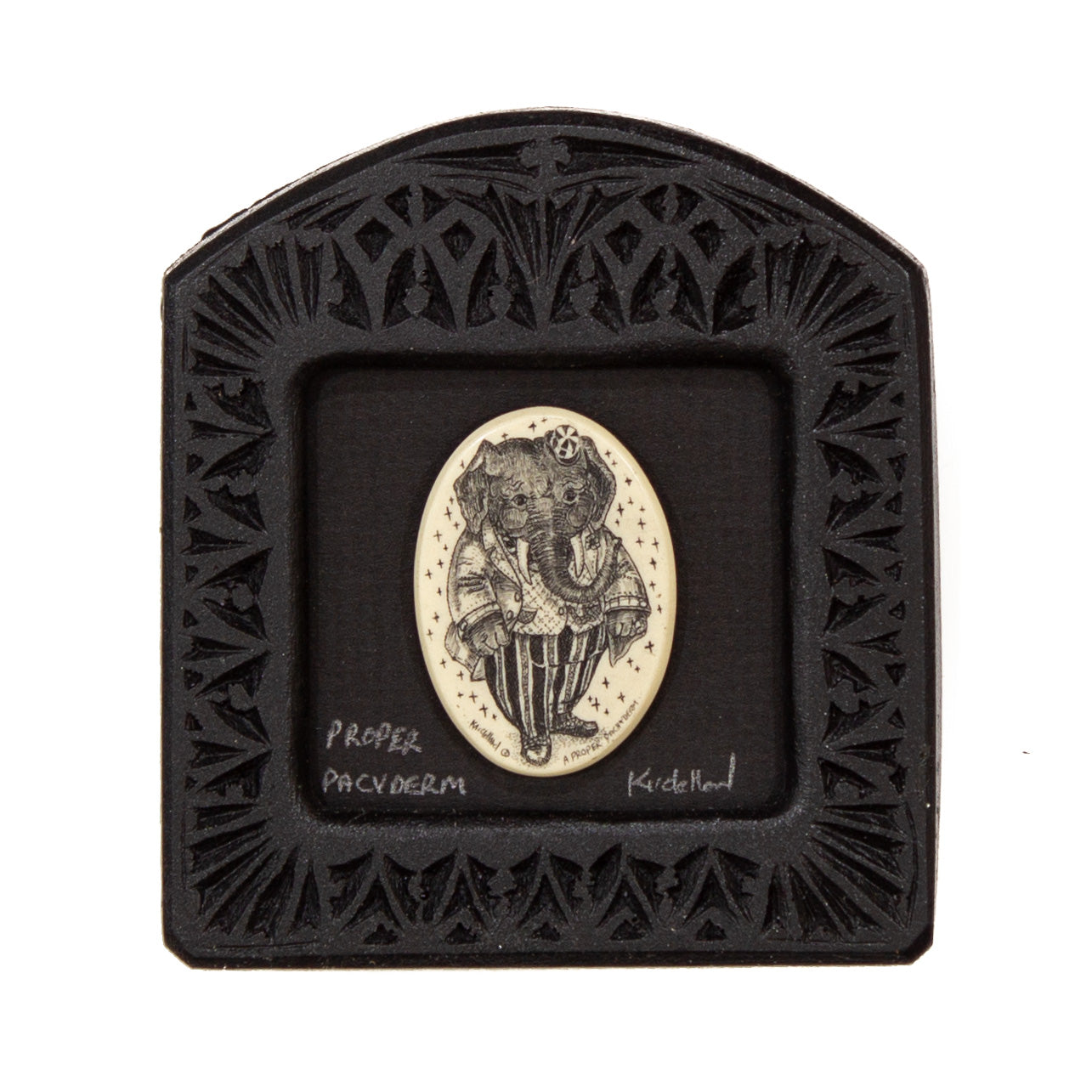 """Proper Pacyderm"" Small Chip Carved Frame"