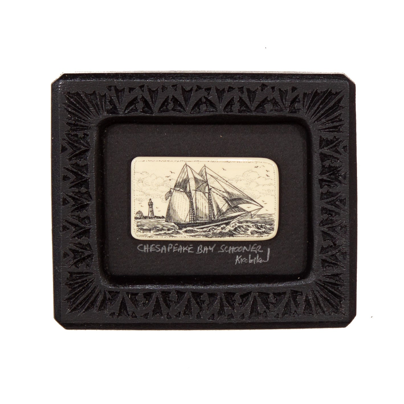 """Chesapeake Bay Schooner"" Small Chip Carved Frame"