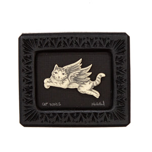 """Cat Want Wings"" Small Chip Carved Frame"