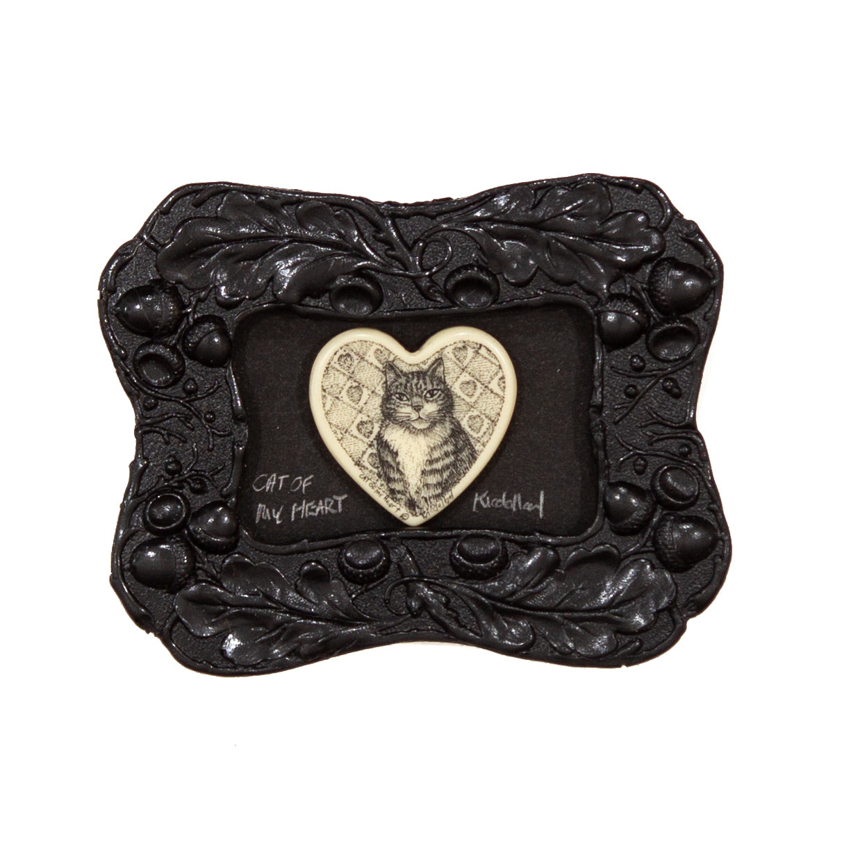 """Cat of my Heart"" Mini Chip Carved Frame"