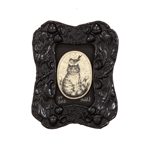 """Cat Bird"" Mini Chip Carved Frame"