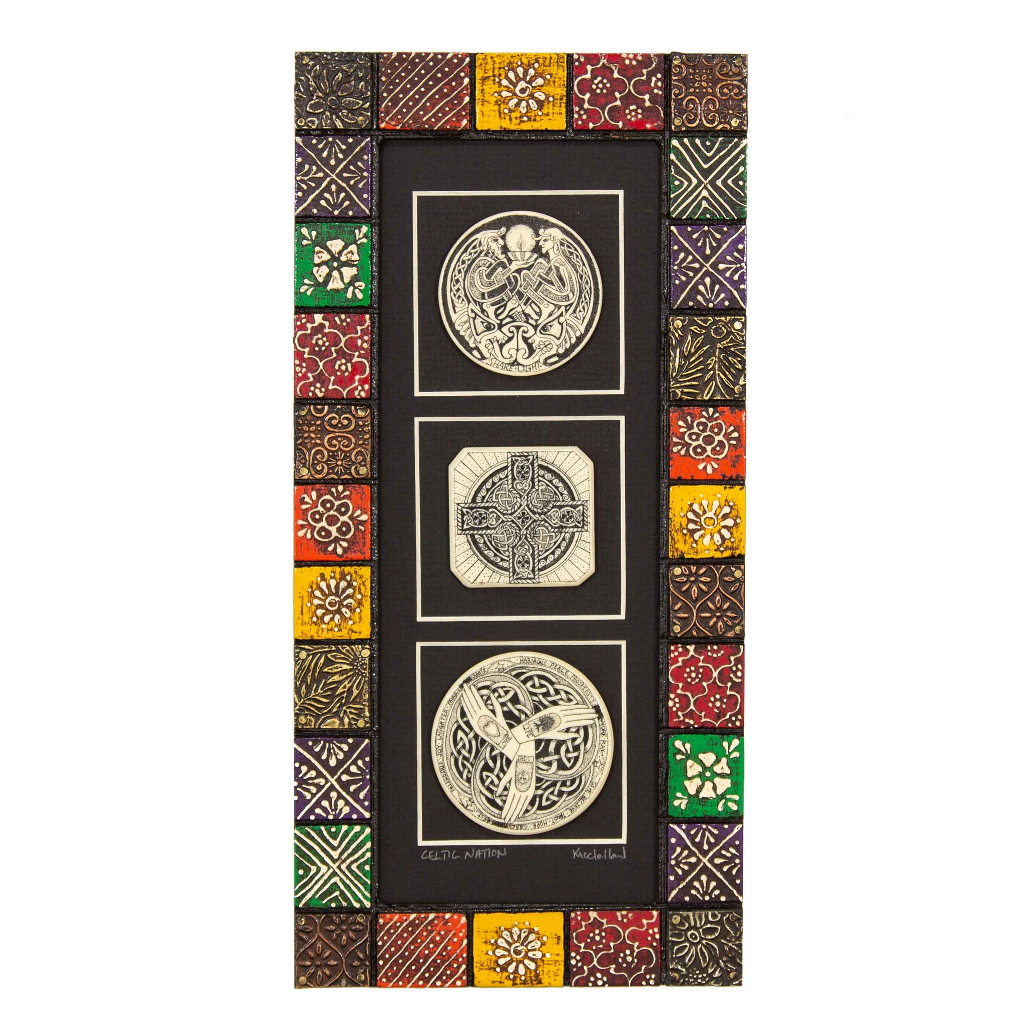 """Celtic Nation"" Painted Mosaic Wood Frame"