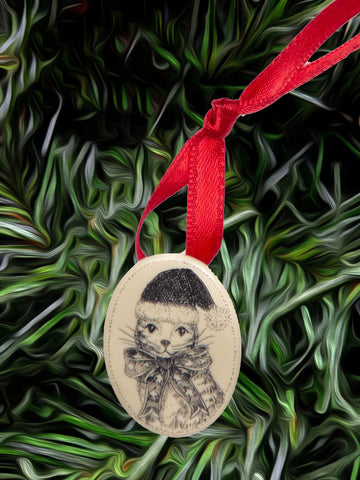"""Christmas Kitty"" (pin/necklace combo)"