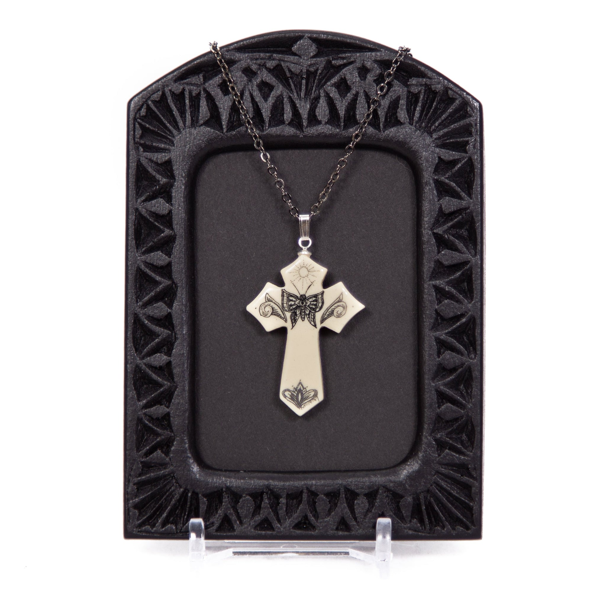 """Resurrection Cross"" Necklace with Chain"