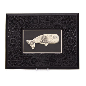 """Scrimshanders' Whale"" Large Chip Carved Frame"