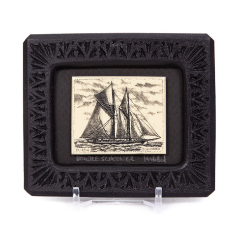 """Double Schooner"" Small Chip Carved Frame"