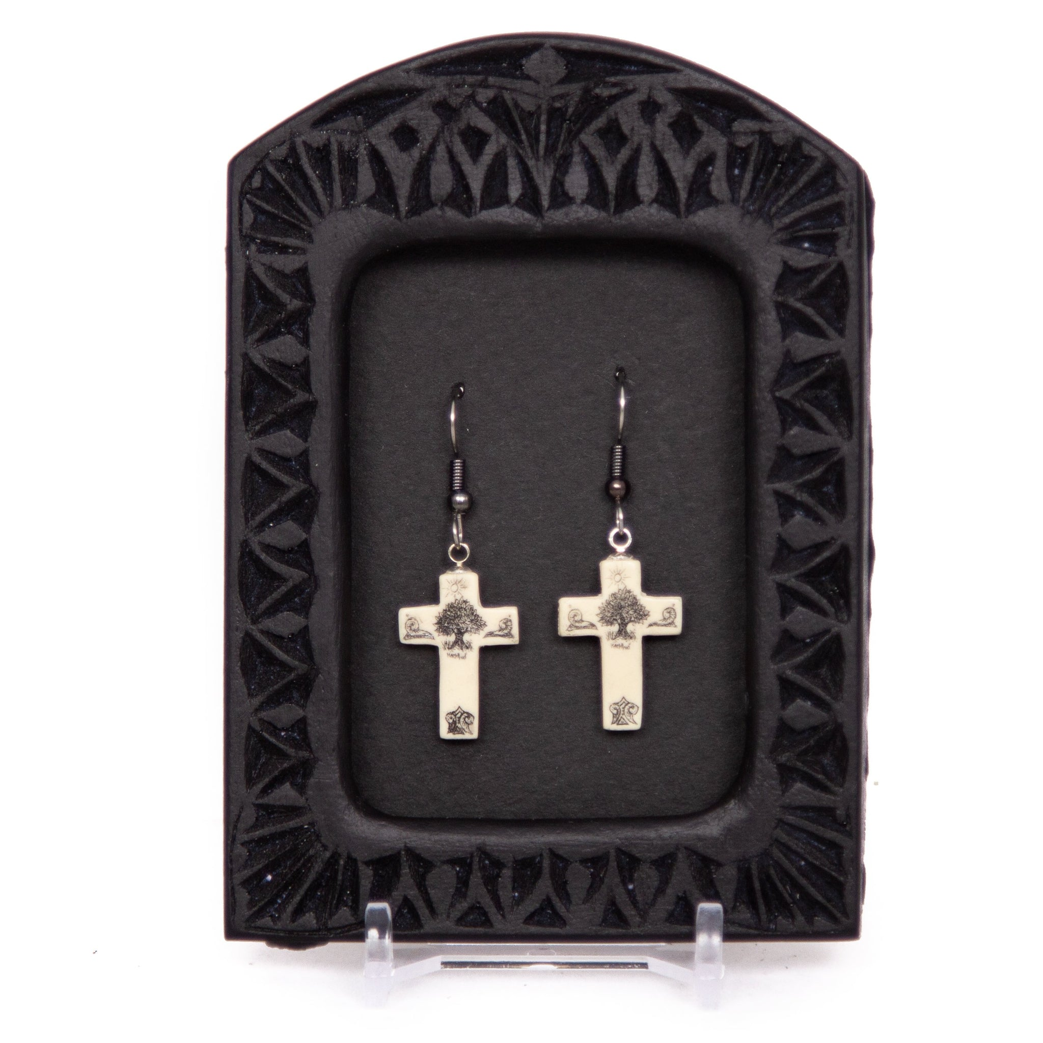 """Tree of Life Cross"" Earrings"