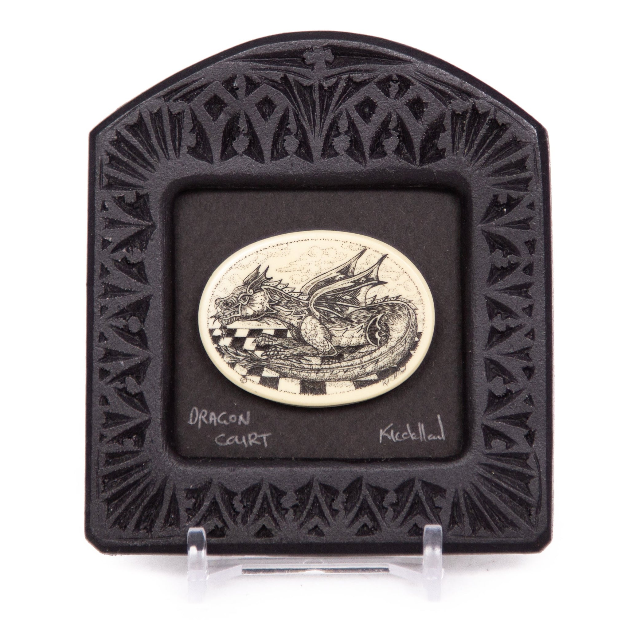 """Dragon Court"" Small Chip Carved Frame"