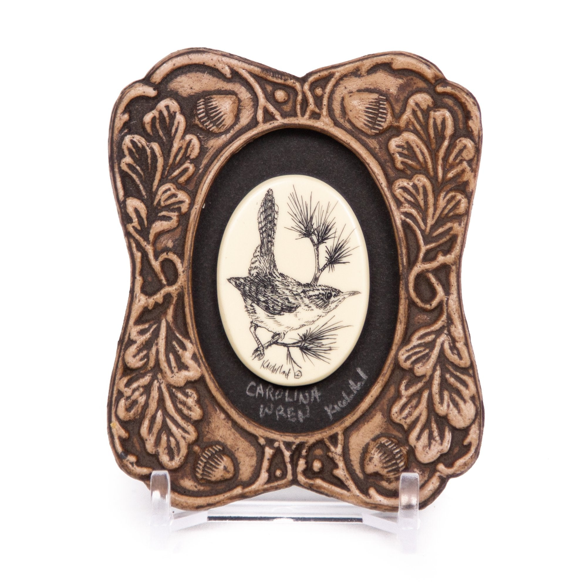 """Carolina Wren"" Mini Chip Carved Frame"