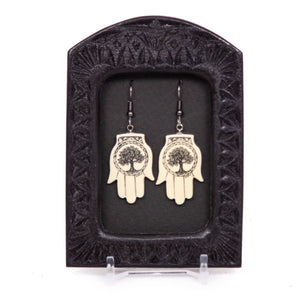 """Tree of Life Hamsa Hand"" Earrings"