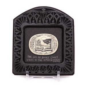 """The Joy of Books Gives Wings to the Imagination"" Small Chip Carved Frame"